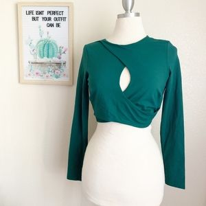 Bebe Green Long Sleeve Crop Top Sz L